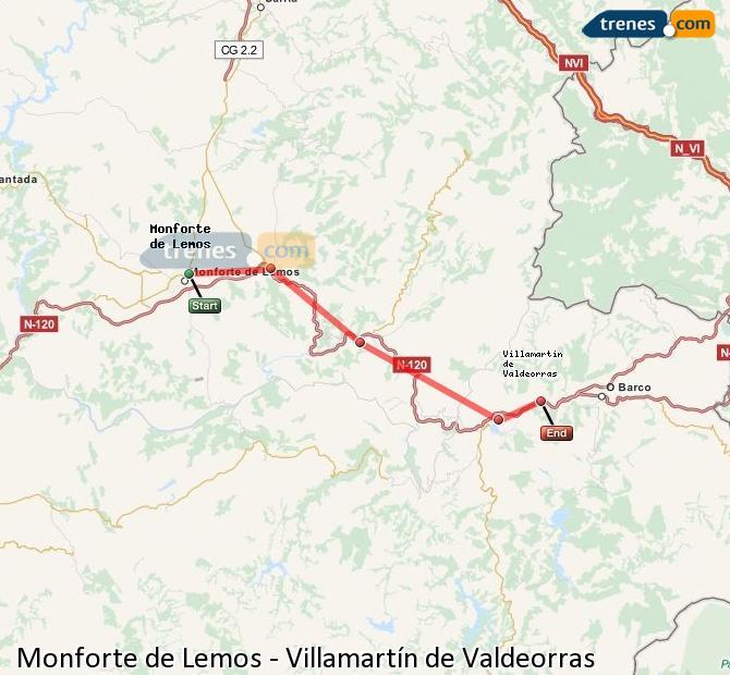 Enlarge map Trains Monforte de Lemos to Villamartín de Valdeorras