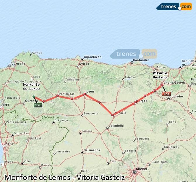 Ampliar mapa Trenes Monforte de Lemos Vitoria Gasteiz