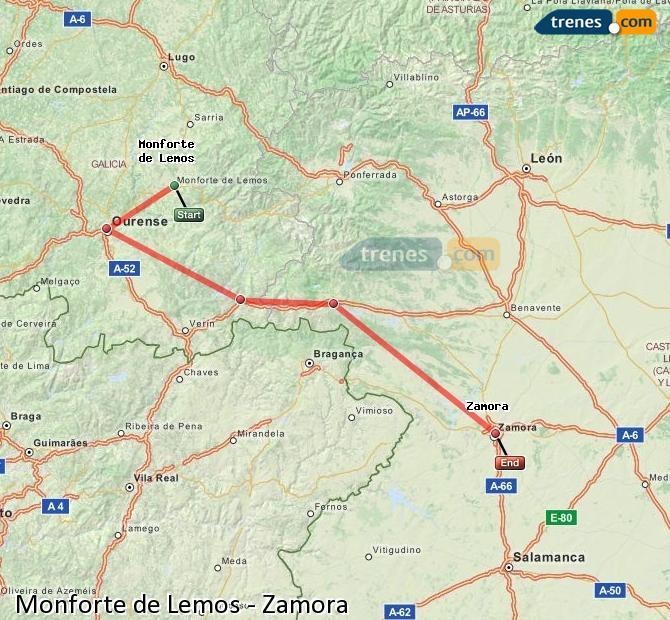 Agrandir la carte Trains Monforte de Lemos Zamora