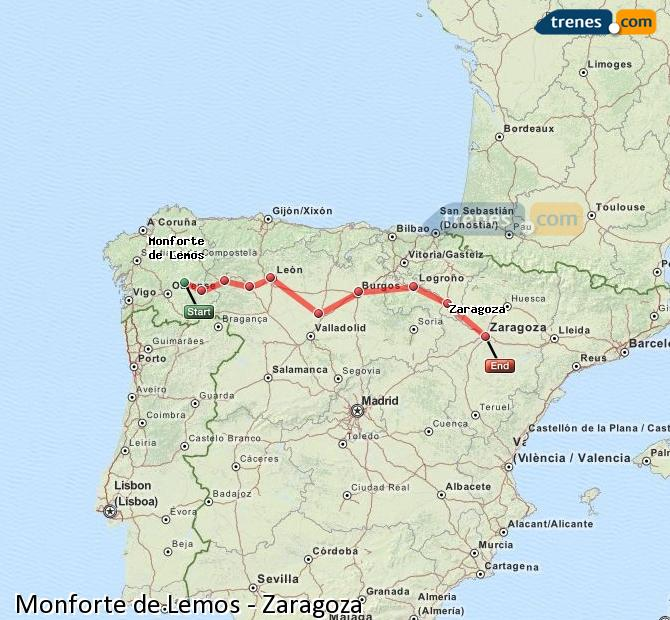 Ampliar mapa Trenes Monforte de Lemos Zaragoza