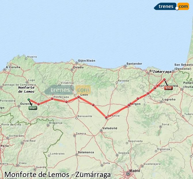 Ampliar mapa Trenes Monforte de Lemos Zumárraga