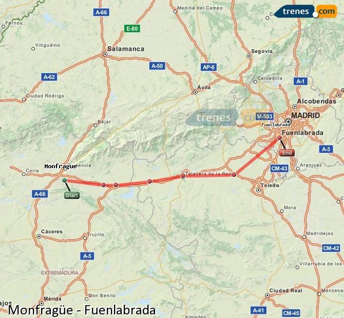 Karte vergrößern Züge Monfragüe Fuenlabrada
