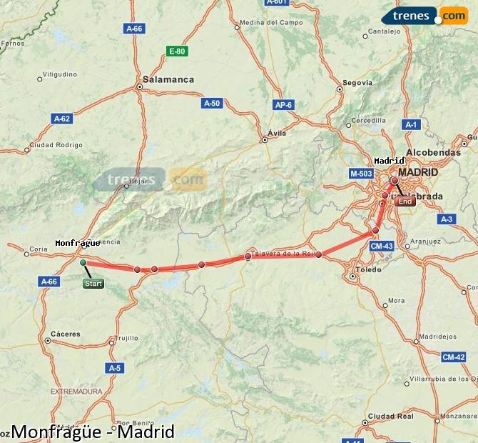 Karte vergrößern Züge Monfragüe Madrid