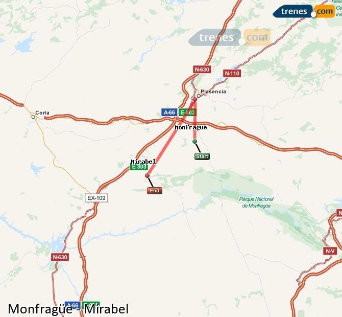 Enlarge map Trains Monfragüe to Mirabel