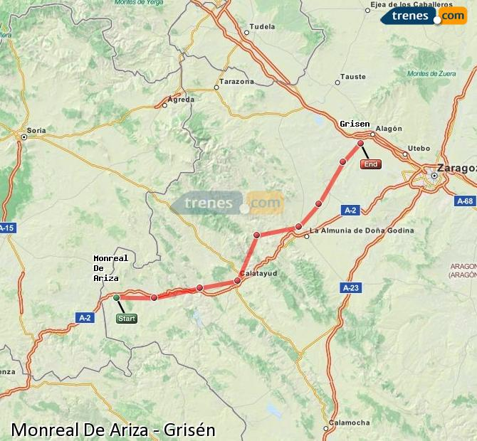 Karte vergrößern Züge Monreal De Ariza Grisén