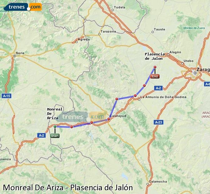 Enlarge map Trains Monreal De Ariza to Plasencia de Jalón
