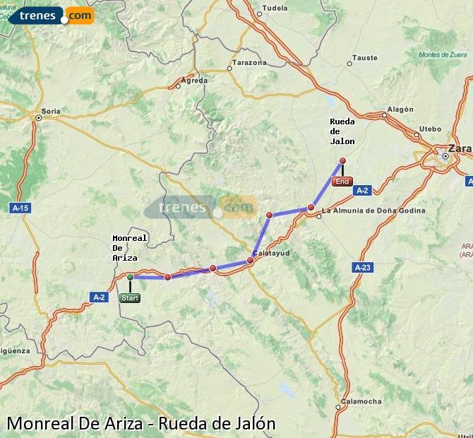 Ingrandisci la mappa Treni Monreal De Ariza Rueda de Jalón