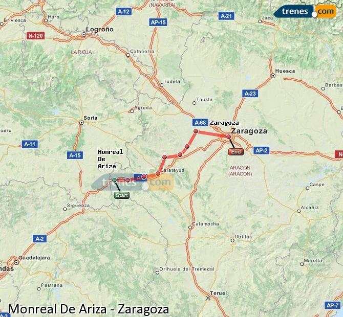Karte vergrößern Züge Monreal De Ariza Zaragoza