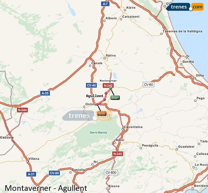 Karte vergrößern Züge Montaverner Agullent