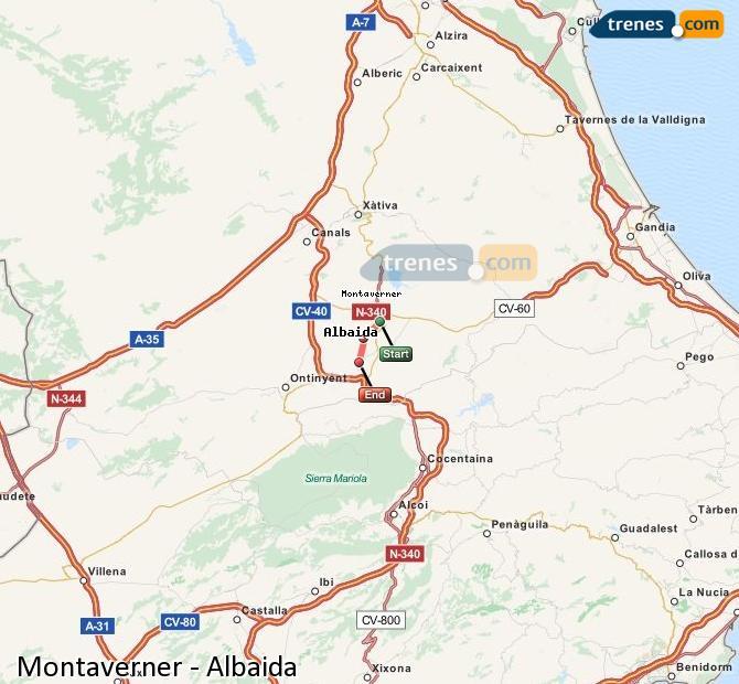 Agrandir la carte Trains Montaverner Albaida