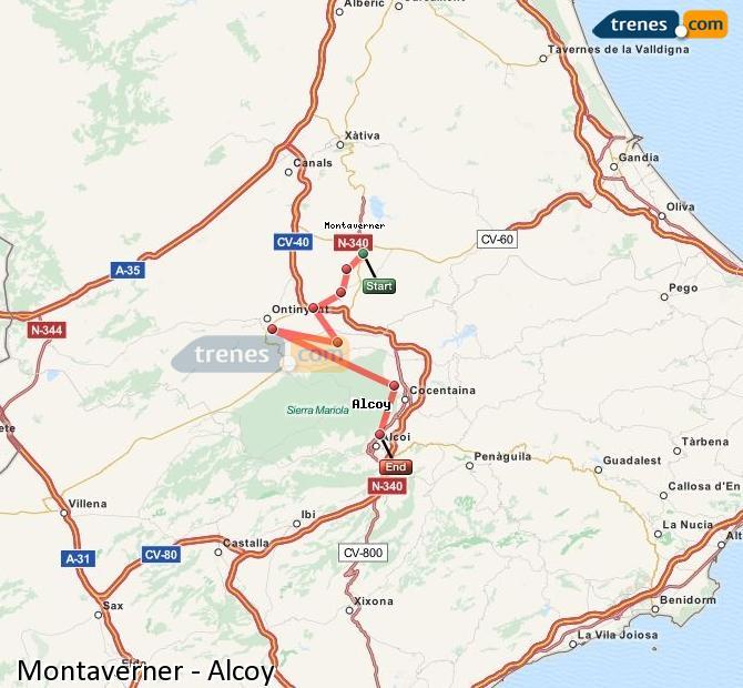 Ingrandisci la mappa Treni Montaverner Alcoy