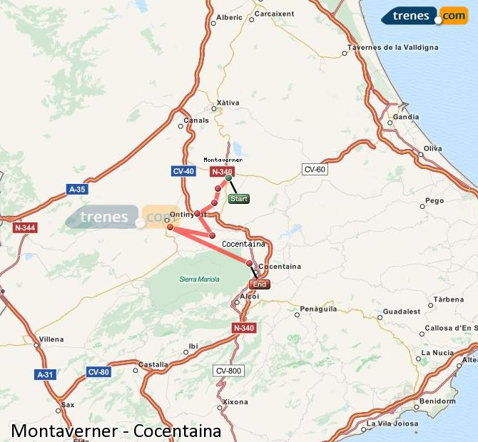 Enlarge map Trains Montaverner to Cocentaina