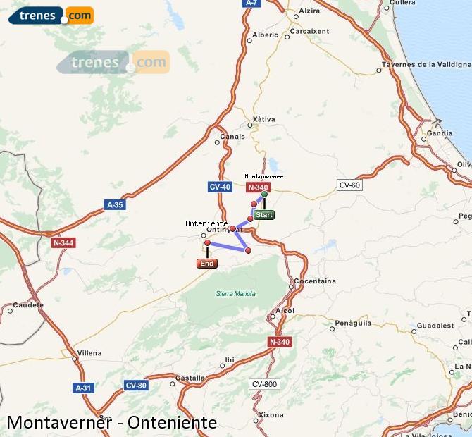 Ampliar mapa Trenes Montaverner Onteniente
