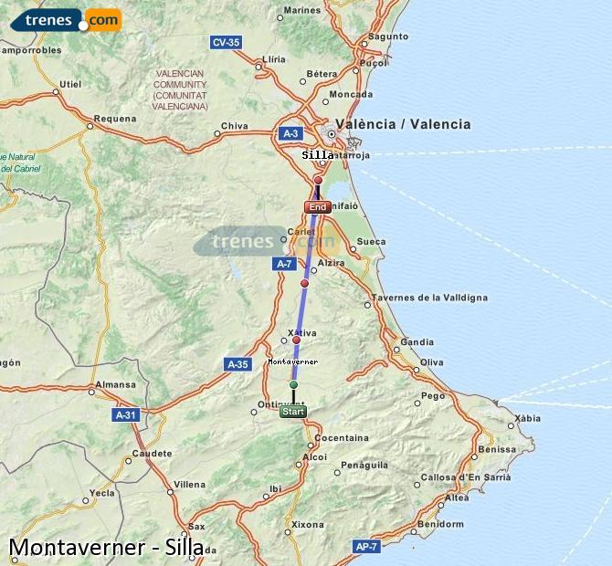 Enlarge map Trains Montaverner to Silla
