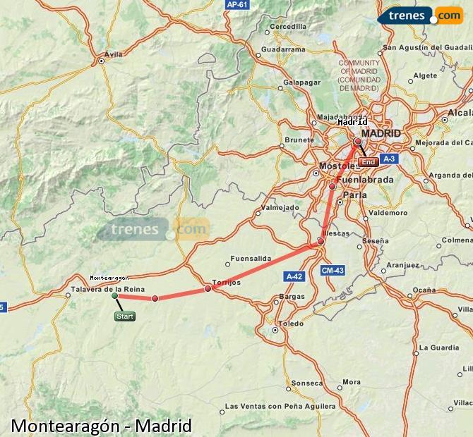 Ampliar mapa Trenes Montearagón Madrid