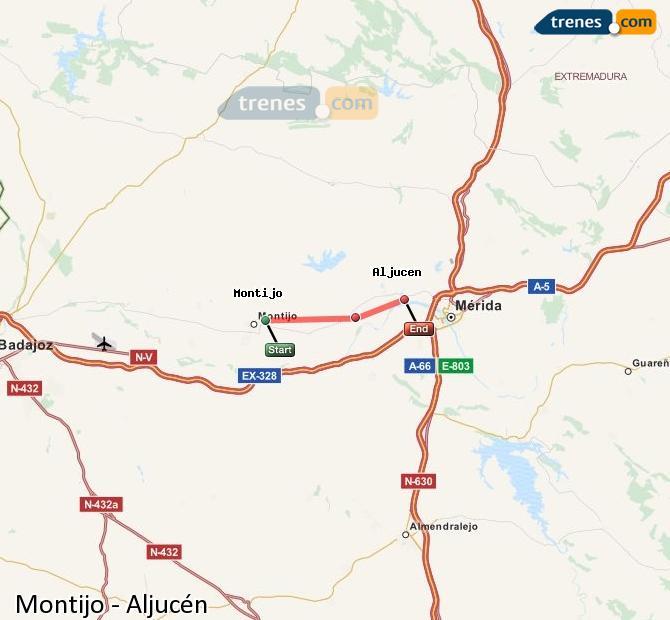 Ampliar mapa Comboios Montijo Aljucén