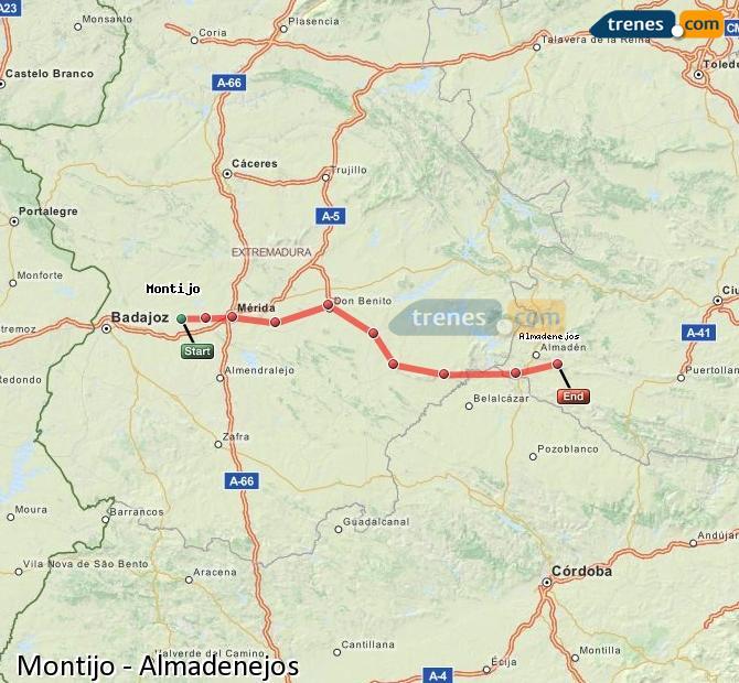 Ampliar mapa Trenes Montijo Almadenejos