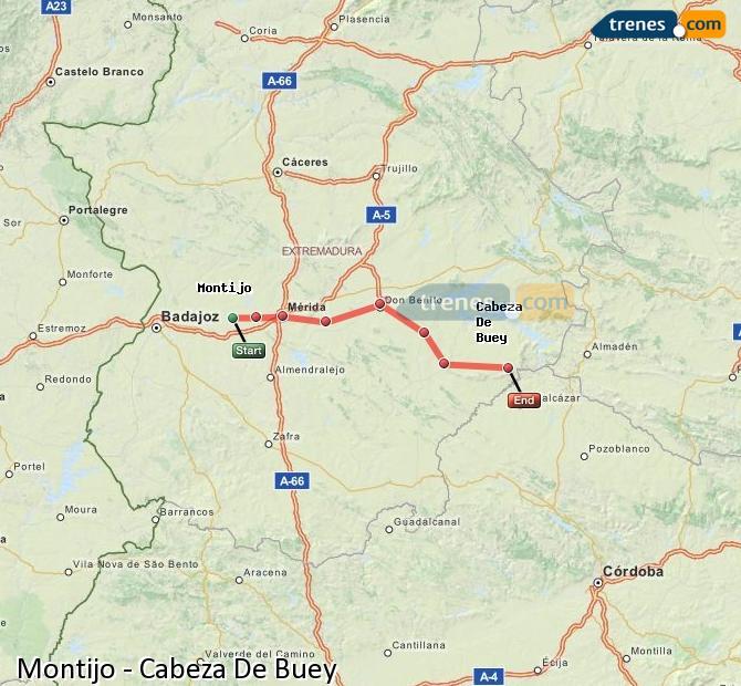 Ingrandisci la mappa Treni Montijo Cabeza De Buey