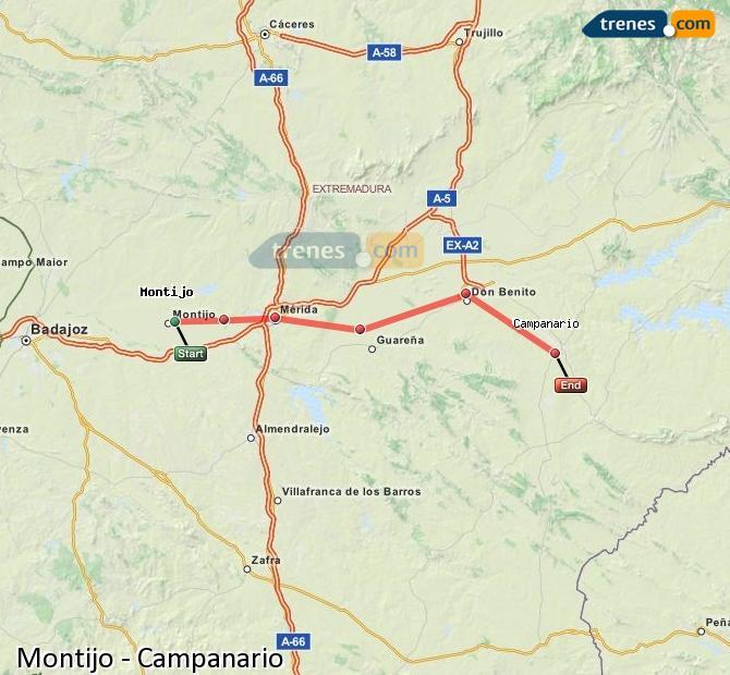 Ingrandisci la mappa Treni Montijo Campanario