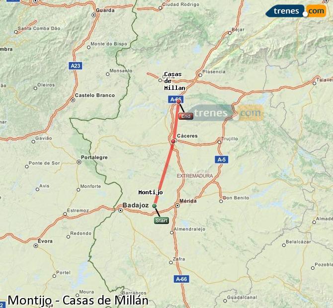 Ingrandisci la mappa Treni Montijo Casas de Millán