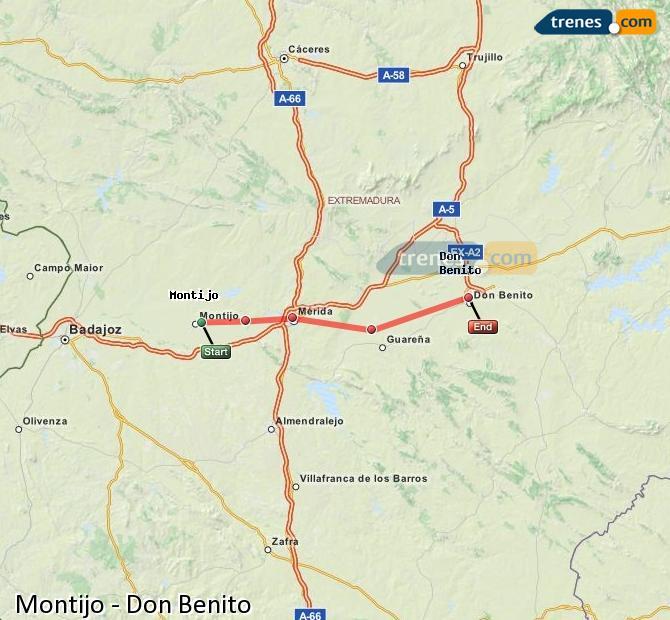 Ingrandisci la mappa Treni Montijo Don Benito