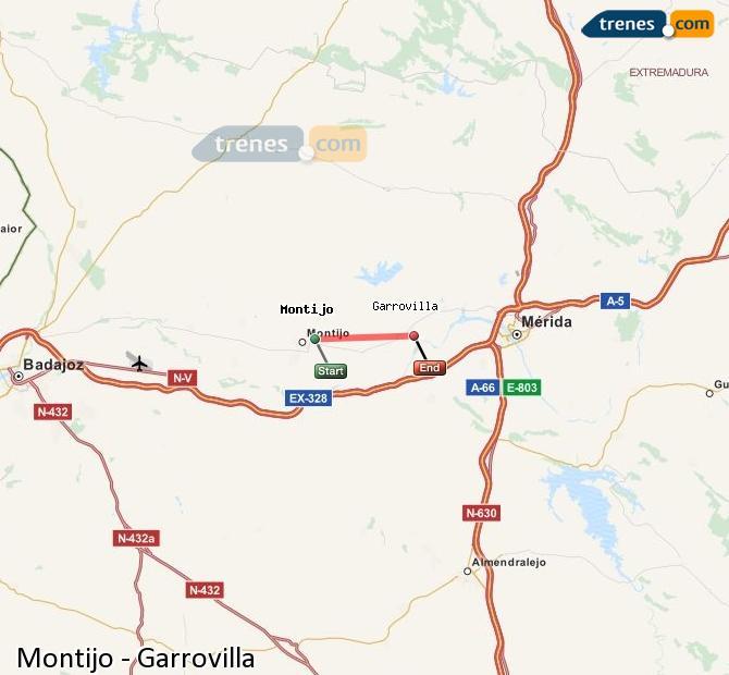 Ampliar mapa Trenes Montijo Garrovilla