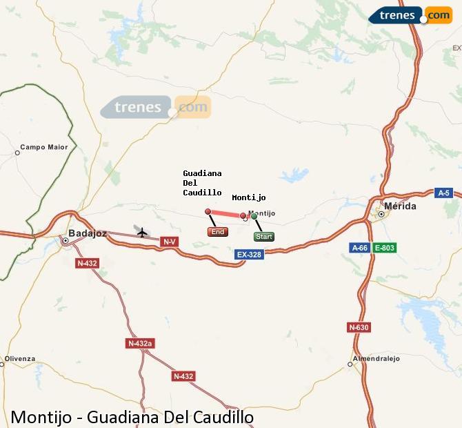 Ampliar mapa Trenes Montijo Guadiana Del Caudillo