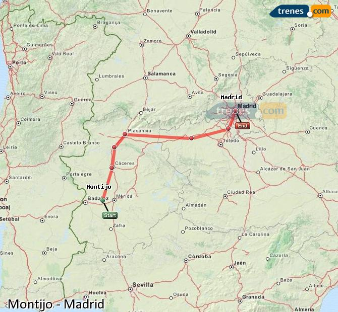 Enlarge map Trains Montijo to Madrid