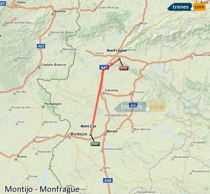 Ingrandisci la mappa Treni Montijo Monfragüe