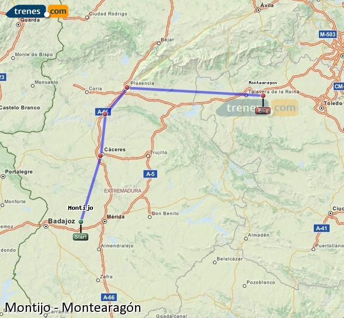 Ampliar mapa Trenes Montijo Montearagón