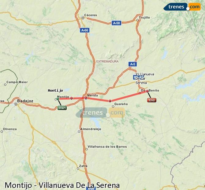 Enlarge map Trains Montijo to Villanueva De La Serena