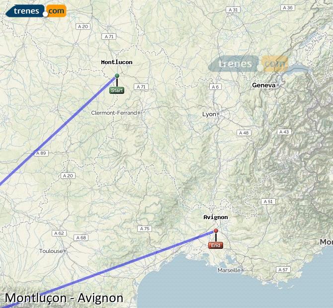 Ingrandisci la mappa Treni Montlucon Avignon
