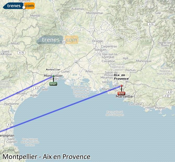 Ampliar mapa Comboios Montpellier Aix en Provence