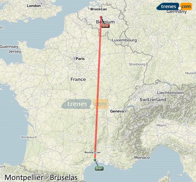 Karte vergrößern Züge Montpellier Brüssel