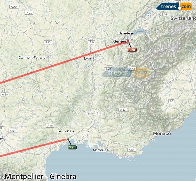 Ampliar mapa Comboios Montpellier Genebra