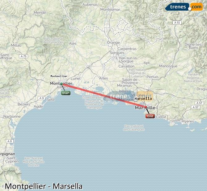 Agrandir la carte Trains Montpellier Marsella