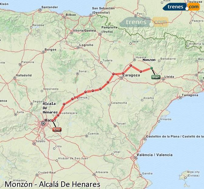 Enlarge map Trains Monzón to Alcalá De Henares
