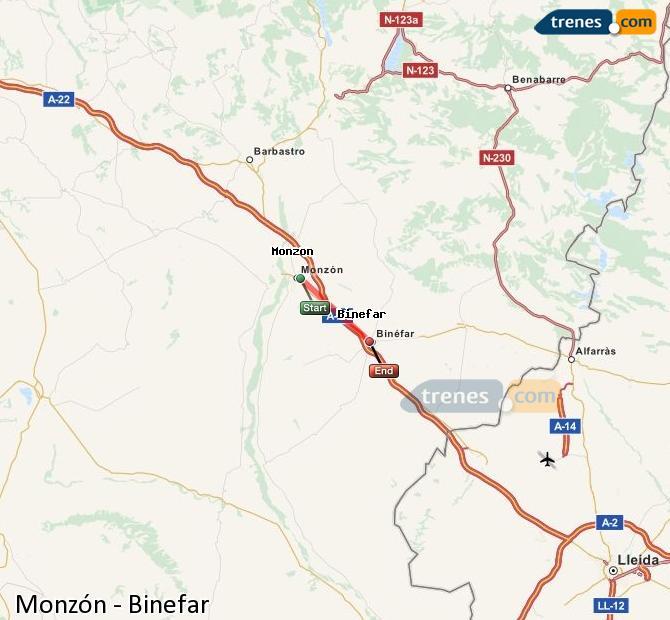 Ingrandisci la mappa Treni Monzón Binefar