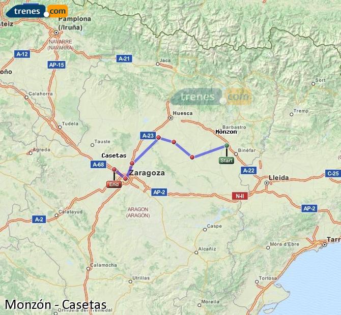 Karte vergrößern Züge Monzón Casetas
