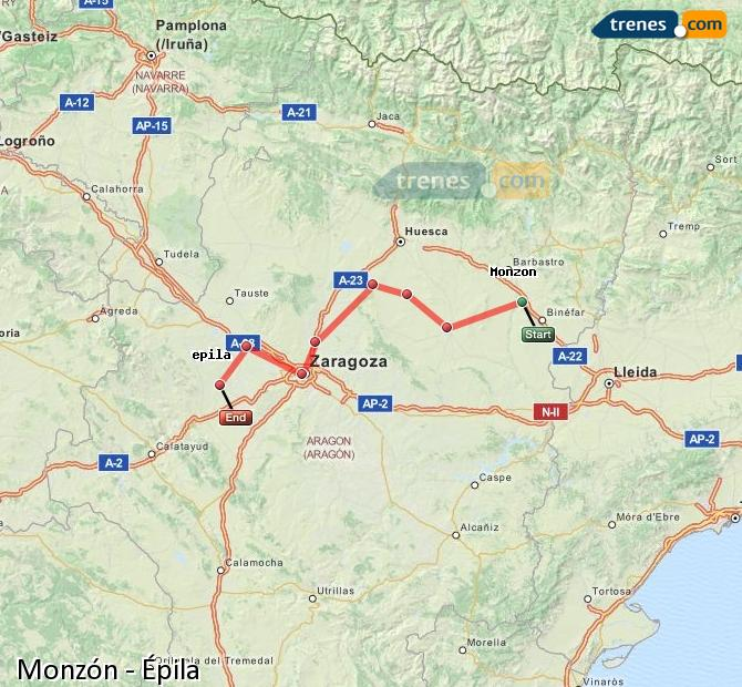 Enlarge map Trains Monzón to Epila