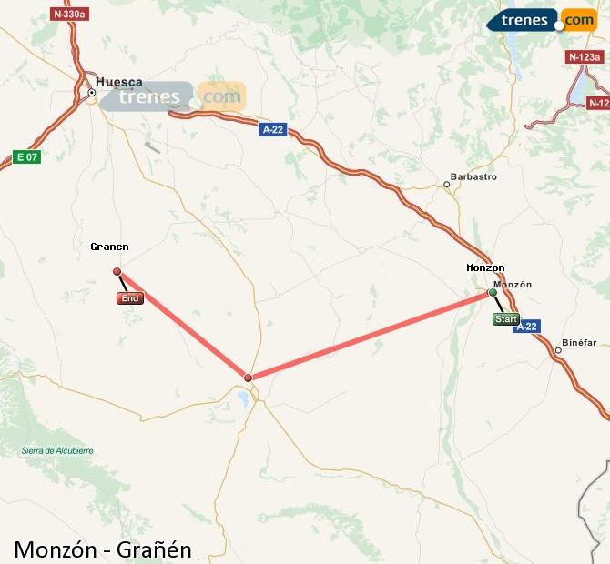 Ingrandisci la mappa Treni Monzón Grañén
