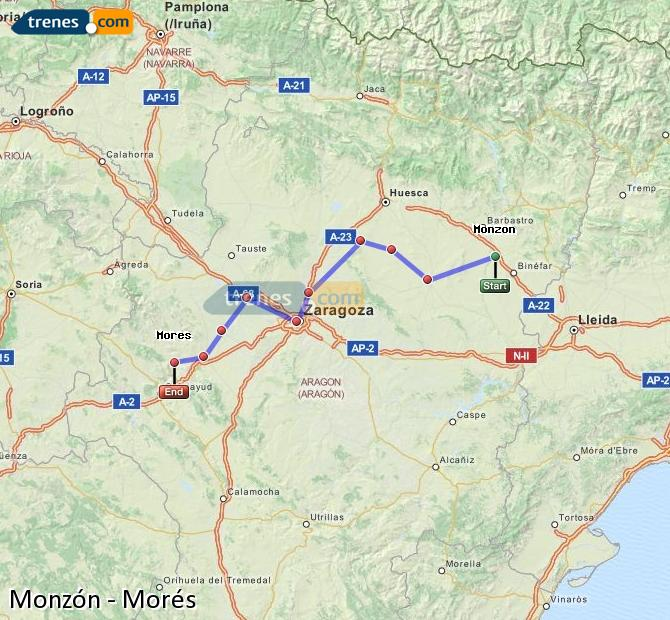 Agrandir la carte Trains Monzón Morés