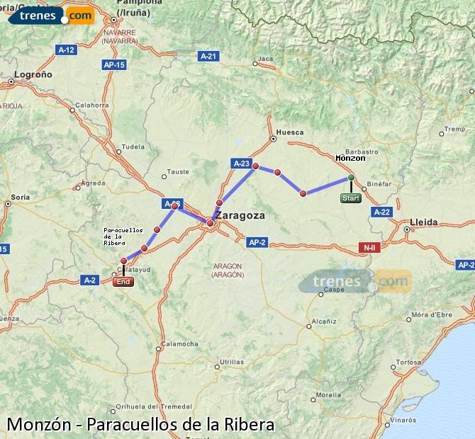 Enlarge map Trains Monzón to Paracuellos de la Ribera