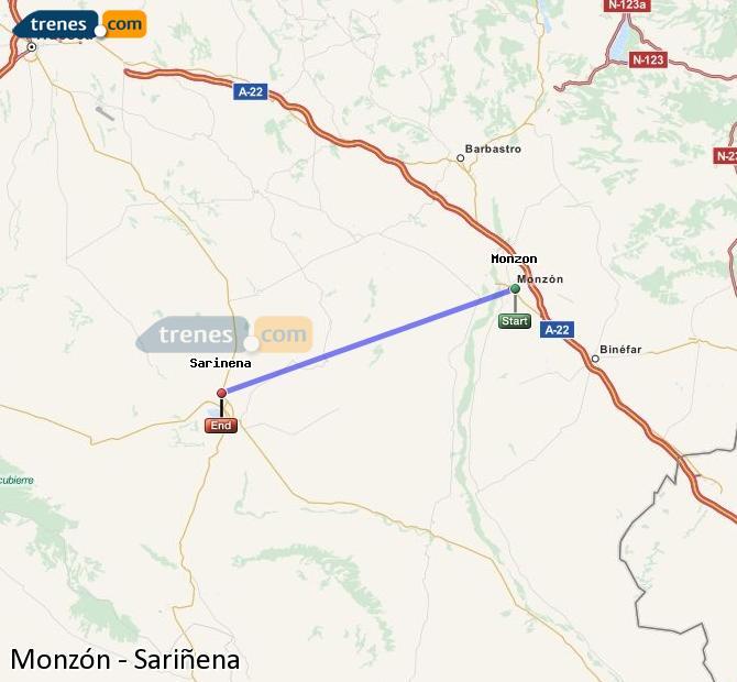 Ingrandisci la mappa Treni Monzón Sariñena