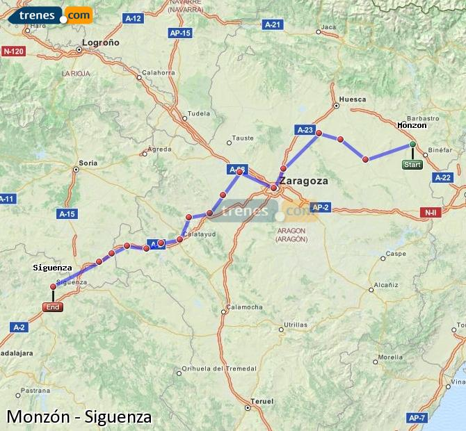 Enlarge map Trains Monzón to Siguenza