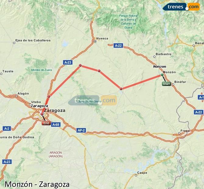 Enlarge map Trains Monzón to Zaragoza