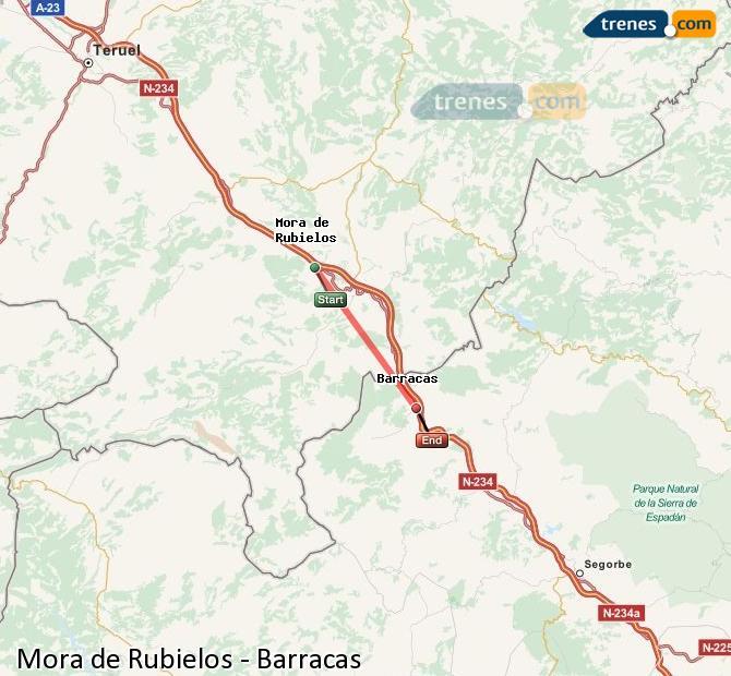 Ingrandisci la mappa Treni Mora de Rubielos Barracas