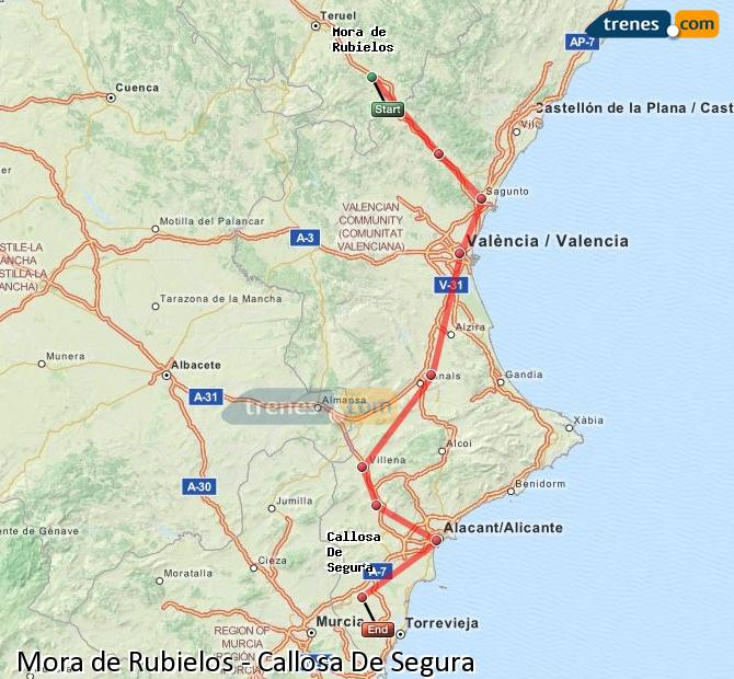Enlarge map Trains Mora de Rubielos to Callosa De Segura