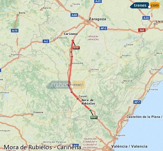Enlarge map Trains Mora de Rubielos to Cariñena
