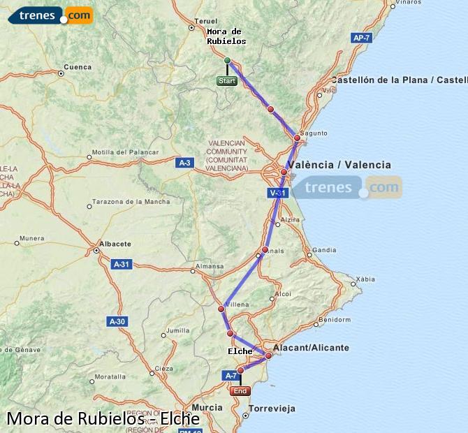 Enlarge map Trains Mora de Rubielos to Elche